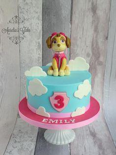 Paw Patrol - Skye - Cake by Aurelia's Cake Paw Patrol Sky Cake, Girls Paw Patrol Cake, Paw Patrol Torte, Paw Patrol Birthday Cake, Little Girl Birthday, Birthday Cake Girls, 3rd Birthday, Dog Cakes, Girl Cakes