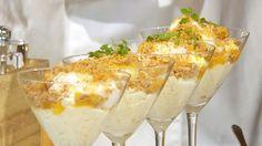 Riskrem med frisk smak av sitrus. Christopher Davidsen serverer riskremen med kryddermarengs, mandelsmuler, appelsinsaus og limeskum.