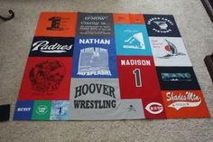 T shirt quilt- i really like this layout better than blocks!