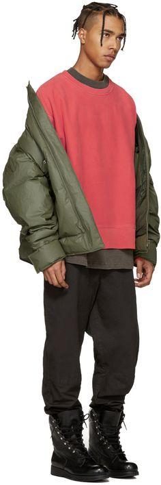 YEEZY Season 3: Red Crewneck Sweatshirt   SSENSE