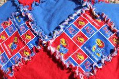Kansas Jayhawks Rag Quilt by LegendsRags on Etsy, $110.00
