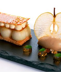 Mark Jordan's original idea for this dessert was to have a slant of an old classic – the apple crumble with vanilla custard – but over time it has developed into this gorgeous galette recipe with the addition of apple jelly and black butter ice cream.