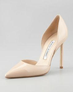 Tayler Patent Pointed d\'Orsay, Nude by Manolo Blahnik at Neiman Marcus. This is my wedding shoe.