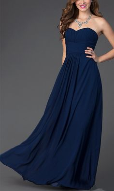 Strapless sweetheart bridesmaid dress, love the navy color and flowing long skirt.