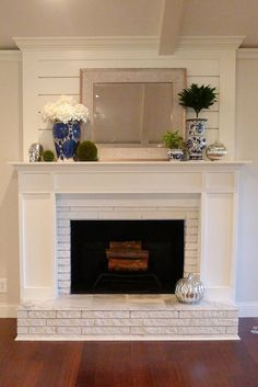 5 Attractive Tips: Faux Fireplace Makeover double sided fireplace lounge.Tv Over Fireplace Basements fireplace classic window seats.Fireplace And Tv White Mantel. Living Room Decor Fireplace, Fireplace Update, Brick Fireplace Makeover, Shiplap Fireplace, Farmhouse Fireplace, Fireplace Design, Fireplace Ideas, Simple Fireplace, Fireplace Cover
