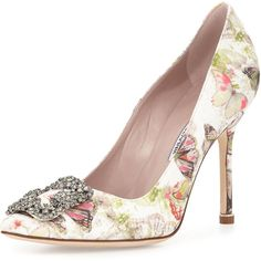 Manolo Blahnik Hangisi 105mm Butterfly-Print Satin Pump ($820) ❤ liked on Polyvore featuring shoes, pumps, heels, lullabies, multi colors, multi colored shoes, manolo blahnik pumps, satin shoes, manolo blahnik shoes and buckle shoes