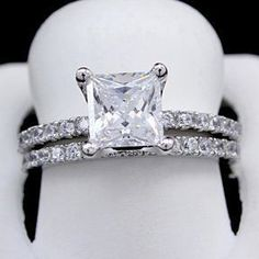 2.25 Ct 10K White Gold D/VVS1 Square Princess Cut Engagement Bridal Ring Set # Free Stud Earring by JewelryHub on Opensky #princesscutring