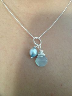Green Blue Chalcedony Pearl Silver pendant Blue Pearl by Lilyb444, $18.00-https://www.etsy.com/treasury/NTY0MTUwN3wyNzIxODcyNDQ1/sweet-sixteen-my-way