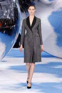 Dior Autumn-Winter 2013 Ready-to-Wear – Look 8: grey tweed coat. Discover more on www.dior.com #Dior#PFW