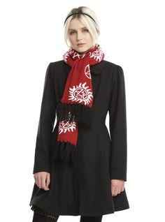 Keep warm and ward off demons with this cozy scarf from Supernatural. The maroon scarf has an allover intarsia knit anti-possession symbol print and is finished off with black tassels. Hat and gloves not included. long x 7 wideImported Supernatural Gifts, Supernatural Outfits, Anti Possession Symbol, Maroon Scarf, Cozy Scarf, List Style, Keep Warm, Bell Sleeve Top, Elegant