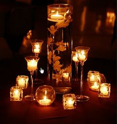 candle center pieces. Looks awesome in the dark, but what would it look like before night fell? Hmm...