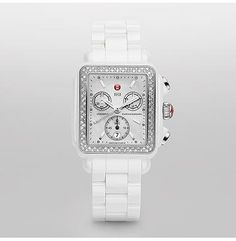 Deco White Ceramic Diamond  As another timeless interpretation of the Deco collection, the Deco Ceramic timepiece is effortlessly chic. The sparkling diamonds, white mother of pearl dial, and Swiss chronograph movement make this timepiece distinctively Michele. You will stand out in the crowd wearing this sporty chic accessory. The white ceramic bracelet is not interchangeable.