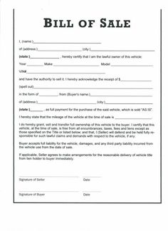 Printable Sample Equipment Bill Sale Template Form