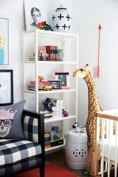 These nursery shelves are styled to perfection in this modern baby room for Model Coco Rocha's daughter.