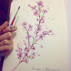@laystattoo - Galho de flor de pessegueiro.
