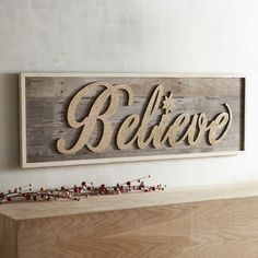 If you believe, proclaim it in golden glitter! We love how much word art adds to a room, and the pretty cursive font of our Believe wooden wall decor (a full 4 feet wide) even features a festive twinkle. Entertainment Center Kitchen, Entertainment Room, Wooden Wall Decor, Wooden Walls, Pretty Cursive Fonts, Christmas Words, Christmas Signs, Christmas Ideas, Xmas