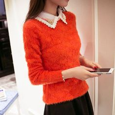2017 Arrivals Spring autumn Fashion women Sweater Beading Lace Turn-down Collar warm Hippocampus wool women Loose gift Pullovers