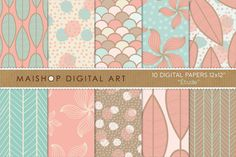 Digital Papers-Étude ~~ This is a pack of 10 original high quality digital papers in jpg format. You can print them in any kind of paper and any kind of printer; inkjet or laser, at home, at work :) or in your favorite printer everytime you want. You can also print them on fabric