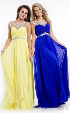 Beautiful Women Long Chiffon Prom Dressess With Sleeves 2015 New Arrival Summer Beach Beading Royal Blue Floor Length Party Gown Plus Size