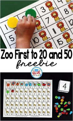 Zoo First to 20 and First to 50 Math Game is a great way for students to practice one to one correspondence, counting, and addition. This free printable is perfect for preschool, kindergarten, and first grade. First Grade Freebies, Kindergarten Freebies, Kindergarten Games, First Grade Math, Math Games, Teaching Math, Preschool Kindergarten, Maths, Teaching Ideas