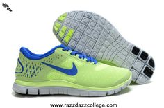online store b5a4e caef9 511527-600 Nike Free 4.0 V2 Womens Fluorescence Green Royal Blue New Nike  Running Shoes