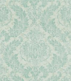 This vintage damask design done is a soft spa color way can be used for draperies or upholstery.  Content: 55% Linen, 45% Viscose Width: 54 inches Fabric Type: Print Upholstery Grade: N/A Horizontal R