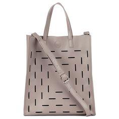 "Women's Grey Vegan Leather Cutout Tote | Josette by Sole Society- Dimensions: 15""H x 13 1/2""W x 5""D Handle Drop: 6"" Strap Drop: 23"""