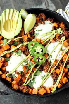 Sweet potato chorizo hash with eggs and avocado crema paleo recipes to try Vegan Recipes Easy, Organic Recipes, Mexican Food Recipes, Real Food Recipes, Vegetarian Recipes, Dinner Recipes, Cooking Recipes, Pork Recipes, Italian Recipes