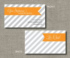 Diagonal Chic Calling Cards, Call Me Cards, Business Cards - Set of 100