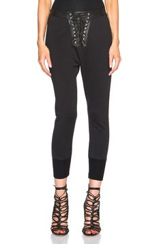 Ben Taverniti Unravel Project Lace Front Cotton & Leather Sweatpants In Black Cotton Sweatpants, High Waisted Flares, Fall Looks, Flare Pants, Star Fashion, Celebrity Style, Active Wear, Black Jeans, Lace Up
