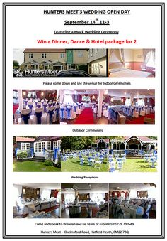 Hunters Meet @Comp_Entourage Wedding Fair 11-3 on Saturday 21st September 2013 Register for your chance to win: Dinner, dance and hotel package for 2 people at Hunters Meet  https://docs.google.com/spreadsheet/viewform?formkey=dGlfUmc4WTdhenU5VlZuekR3a24tRWc6MQ Contact: https://www.facebook.com/CompleteEntourageWeddingsandevents