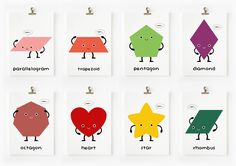 Loopz. CHILDREN DECOR CUTE GEOMETRIC SHAPES FLASH CARDS SET OF 18