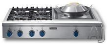 "Thermador PC484WKBS 48"" Gas Cooktop with 4 Star Burners (2 w/ ExtraLow Simmer Settings), 15,000 BTU Power Burner, Cast-Iron Grates & Multiple Configurations: 4 Burners and Wok Burner"