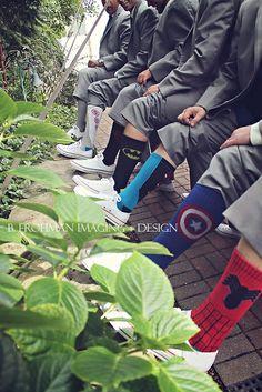 Superhero groom and groomsmen socks for weddings | B. Frohman Imaging & Design | TodaysBride.com
