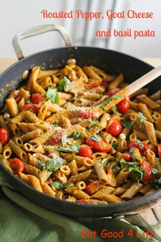 Roasted pepper, goat cheese and basil pasta+ 4 jpg: Eatgood4life.com