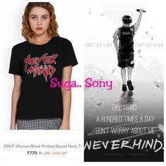 Suga inspired Nevermind tshirt. Buy on Myntra #bts #bangtan #kpop #Suga #yoongi #minsuga #minyoongi #fashion #shop #online Min Suga, Black Print, Neck T Shirt, India, Prints, Stuff To Buy, Inspiration, Shopping, Tops