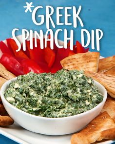 This has spinach, so basically it's and you can eat the whole bowl. Greek Spinach Dip This savory Greek Spinach Dip takes its flavor cues from spanakopita. Serve it with warm pita bread or crisp crudités. Greek Recipes, Dip Recipes, Cooking Recipes, Rice Salad Recipes, Healthy Snacks, Healthy Eating, Healthy Recipes, Appetizer Dips, Appetizer Recipes
