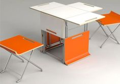 Offi Packet Cube space saving table and chair