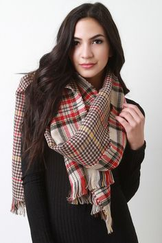 Two Sided Houndstooth Shepherd Checkered Scarf