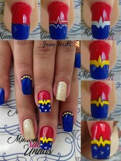 trendy nails art paso a paso tips trendige Nail Art Paso und Paso Tipps This image has. Trendy Nail Art, Cute Nail Art, Cute Nails, Wonder Woman Nails, Superhero Nails, Acrylic Nail Drill, Nail Art For Kids, Nailart, Plaid Nails