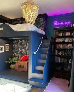 Navy Blue Decor, Built In Bunks, Kids Room Furniture, Old Mattress, Kids Room Design, Bedroom Loft, Dream Rooms, Room Inspiration, House Design