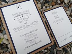 Navy Blue and Kraft Wedding Invitation, Shabby Chic, Heart, Arrows, Whimsical, Rustic Wedding - Arrow on Etsy, $3.75