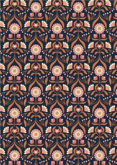 Chieveley - Drawing Room Blooms On Darkest Blue Lewis & Irene Patchwork Quilting Fabric Textile Patterns, Print Patterns, Textiles, Linocut Prints, Art Prints, Block Prints, Pattern Photography, Drawing Room, Surface Pattern Design