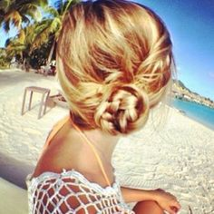 Blonde hairstyle. Blonde braided bun  1. Braid half of your head then the other half. You'll have 2 braids.  2. Wrap them around together to form a bun!