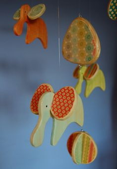 Baby Mobile - Baby Crib Mobile - Wooden Elephants Mobile for a Modern Nursery (Colors of the Rainbow)