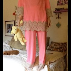"""Vintage Two Piece Sleep Pajamas Pink & Grey Lace Excellent condition. Smoke free home. Could be 1950's or 60's. No stains or rips. Classy chic. Measurements laying flat are top length 30"""", armpit to armpit18.5, waist 20. Pants waist band is elastic 11-14"""" total length is 39"""" Vintage Intimates & Sleepwear Pajamas"""