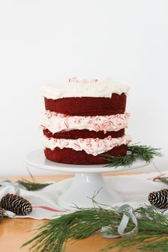 Red Velvet Layer Cake with Peppermint Cream Cheese Frosting #desserts #dessertrecipes #food #sweet #delicious #yummy