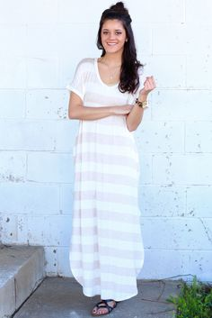 Forever Stripes V-neck Maxi Dress {Oatmeal} | Boutique – The Fair Lady Boutique