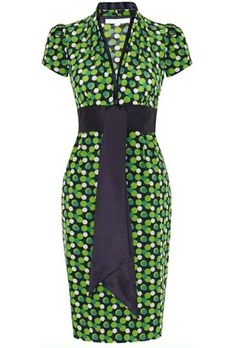 Navy Blue, Green and Cosmetic Nude vintage 1940's inspired silk tea dress with fun polka dot print. Print inspired by a beautiful vintage vanity case from  America.