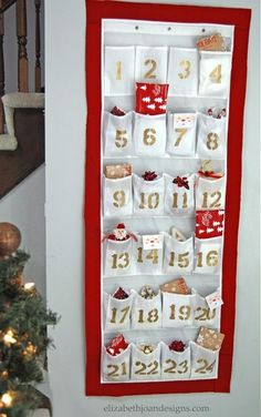I would add a bow at the top. diy advent calendar from a shoe organizer, christmas decorations, crafts, repurposing upcycling, seasonal holiday decor Make An Advent Calendar, Homemade Advent Calendars, Christmas Calendar, Diy Calendar, Christmas Countdown, Countdown Calendar, Reusable Advent Calendar, Advent Calendars For Kids, Pocket Calendar